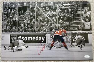 L@@K! Connor McDavid SIGNED 12x18 Metallic Spotlight Canada Goal Photo- JSA COA