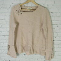 Style & Co Large Sweater Womens Light Pink Lace Up Bell Sleeve MSRP $55