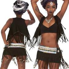 Goa Tribal Fringe Top, Hippy Psy Trance Waistcoat, Beaded Tassels Boho Mini Top