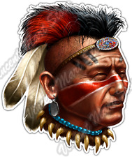 "Indian Chief Warrior Native American Aztec Car Bumper Vinyl Sticker Decal 4""X5"""