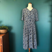 Handmade VINTAGE Blue White Floral Pleated Button Down Midi Dress Size 10-12