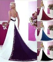 2018 Stock New A-line Satin Strapless Wedding Dresses Size 6-8-10-12-14-16-18-20