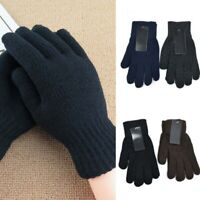 Men's Autumn Winter Warm Knitted Wool Monochrome Solid Color Five-finger/Gloves