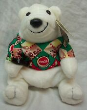 "Coca-Cola Coke Polar Bear In Argyle Shirt 4"" Bean Bag Stuffed Animal Toy New"