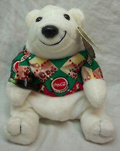"Coca-Cola COKE POLAR BEAR IN ARGYLE SHIRT 4"" Bean Bag STUFFED ANIMAL TOY NEW"
