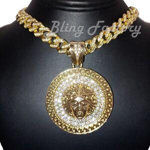 """Hip Hop Gold PT Medusa Head Pendant & 16"""" 18"""" 20"""" Full Iced Cuban Chain Necklace"""