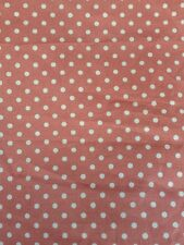 "POLKA DOT DUSKY PINK WHITE 100% cotton poplin fabric sold by the metre 45"" wide"