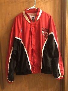 Vintage Champion Chicago Bulls Red Black Warm Up Jacket Mens XXL Michael Jordan