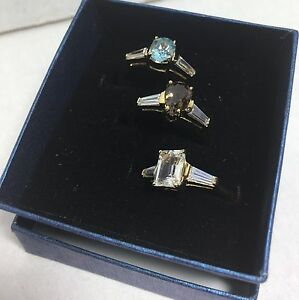 BRAND NEW QVC SET OF 3 RINGS FANCY BRILLIANT CUT SIZE 9 SIMULATED STONES