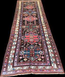 an Antique 13' Long Geometric Caucasian Karabagh Runner Rug