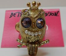 Betsey Johnson Tzarina Princess Purple Eyed Owl Ring Goldtone Stretch Band $50