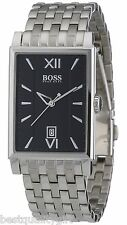 NEW-HUGO BOSS GENTS SILVER BAND+BLACK RECTANGLE DIAL+ROMAN #'s WATCH 1512467+TAG