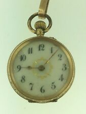 Lady's Pocket watch 18k yellow solid Gold Porcelain Dial , Nice Watch