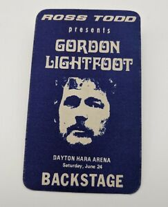 GORDON LIGHTFOOT Backstage Pass 1978 World Concert Tour VIP Dayton Ohio RARE!