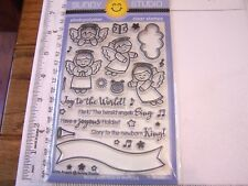 SUNNY STUDIO CUTE ANGELS CHRISTMAS WINTER GREETINGS CLEAR STAMPS BANNER CLOUD