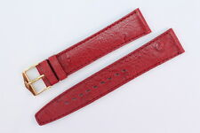 FORTIS Uhrenarmband 18mm Rot Kalbsleder mit Strauß-Narbung