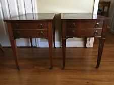 Pair of Vintage Imperial Leather Top Mahogany Mobile Wheel End Tables