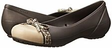 NWT Crocs Cap Toe Bow Flat Womens SZ 10 Espresso/Gold Relaxed Fit Slip-on Shoes