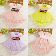 Toddler Baby Kids Girls Flowers Floral Tulle Ruched Princess Dresses Clothes US