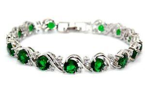 Silver Emerald & White Topaz 16ct Bracelet (Free Gift Box)