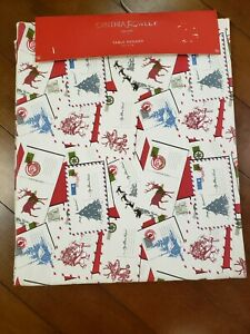 "NWT Cynthia Rowley NY 15""x72"" Christmas Postcard Table Runner 100% Cotton"