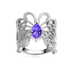 Fashion Women Butterfly Amethyst Gemstone Silver Wedding Ring Size 9