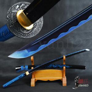 Noble Blue Dragon Sword Japanese Sharp Samurai KATANA Carbon Steel Full Tang