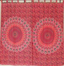 Peacock Window Treatments – Red Cotton Decorative Indian Panels Pair