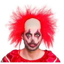 Red Sinister Clown Halloween Bald Cap + Wig Fancy Dress Clowns Costume