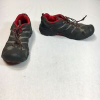 Keen Mens 6 Black Silver Red Leather Pull Cord Sneaker Shoes