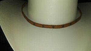 BRAND NEW Cowboy Hat Band Strap Studded Brown Leather Band Strap 28 Inches