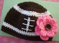 New Football Baby Hat Newborn Girl 0-3mo soft knit beanie nfl fan gift photo pro