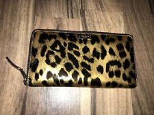 Authentic KATE SPADE Leopard Pebbled Leather Full Zip Wallet