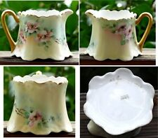 Bavaria Porcelain Creamer Antique Artist Signed 1913 Hand Painted Wild Roses