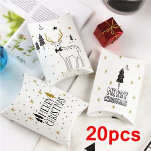 40pcs Christmas Pillow Paper Bags Favour Candy Sweets Xmas Party Gift Boxes UK