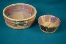 Pair of vintage inlaid turned wood bowls - Supercraft Inlay by Thomas