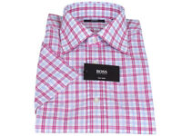 Hugo Boss Anzughemd 39 Tom weiß/rot/blau Baumwolle kurzarm regular fit Neu!