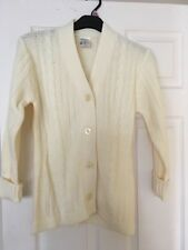 VINTAGE TESCO DELAMARE CREAM KNITTED CARDIGAN SIZE 16