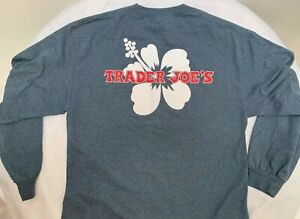 New Trader Joe��s Crew Long Sleeve T-Shirt Men's Large blue gray