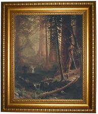 Bierstadt Giant Redwood Trees of California 1874 -Gold Framed Canvas Print 22x26