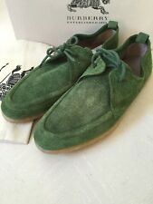 NIB $ 485 Burberry Prorsum Men's Suede Shoes Size 9 US ( 42 Eur ) Green Italy