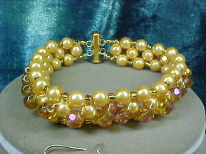 Woven Gold Glass Pearl & Crystal Beaded Bracelet . Handcrafted A~K~N Design