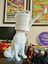 More details for pols potten - ceramic white watering can headed wolf - decorative designer weird