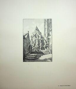 🌓 GEORGES SALLE Bruges Chevet de Notre-Dame belle gravure sur vélin d'Arches #6