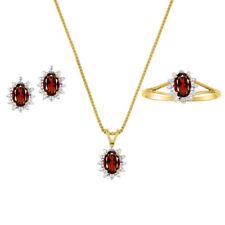 January Birthstone Set - Ring, Earrings & Necklace Garnet Sterling Silver or Ye