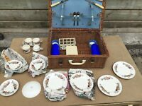 Vintage Brexton 2 people picnic hamper in wicker basket all original bone china