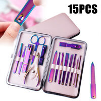15 Manicure Set Nail Clippers Kit Professional Pedicure Care Tool StainlessSteel