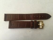 18mm Brown Leather Band with Yellow Gold Buckle For Omega Watch