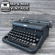 Serviced Royal Arrow Dark Grey Typewriter Working Black Red Ribbon GLASS top key