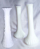 "Set of 3 Hoosier Milk Glass White Vases Ribbed and Jewel 8""-9"" Tall Vintage"